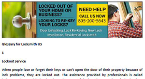 Glossary for Locksmith in Simi Valley  - Click here to download